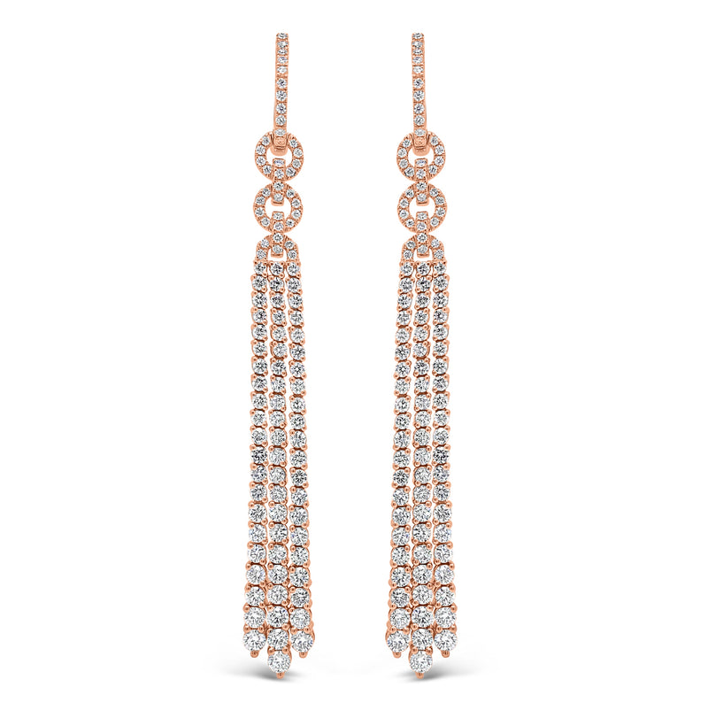 Diamond Double Link Tassel Earrings