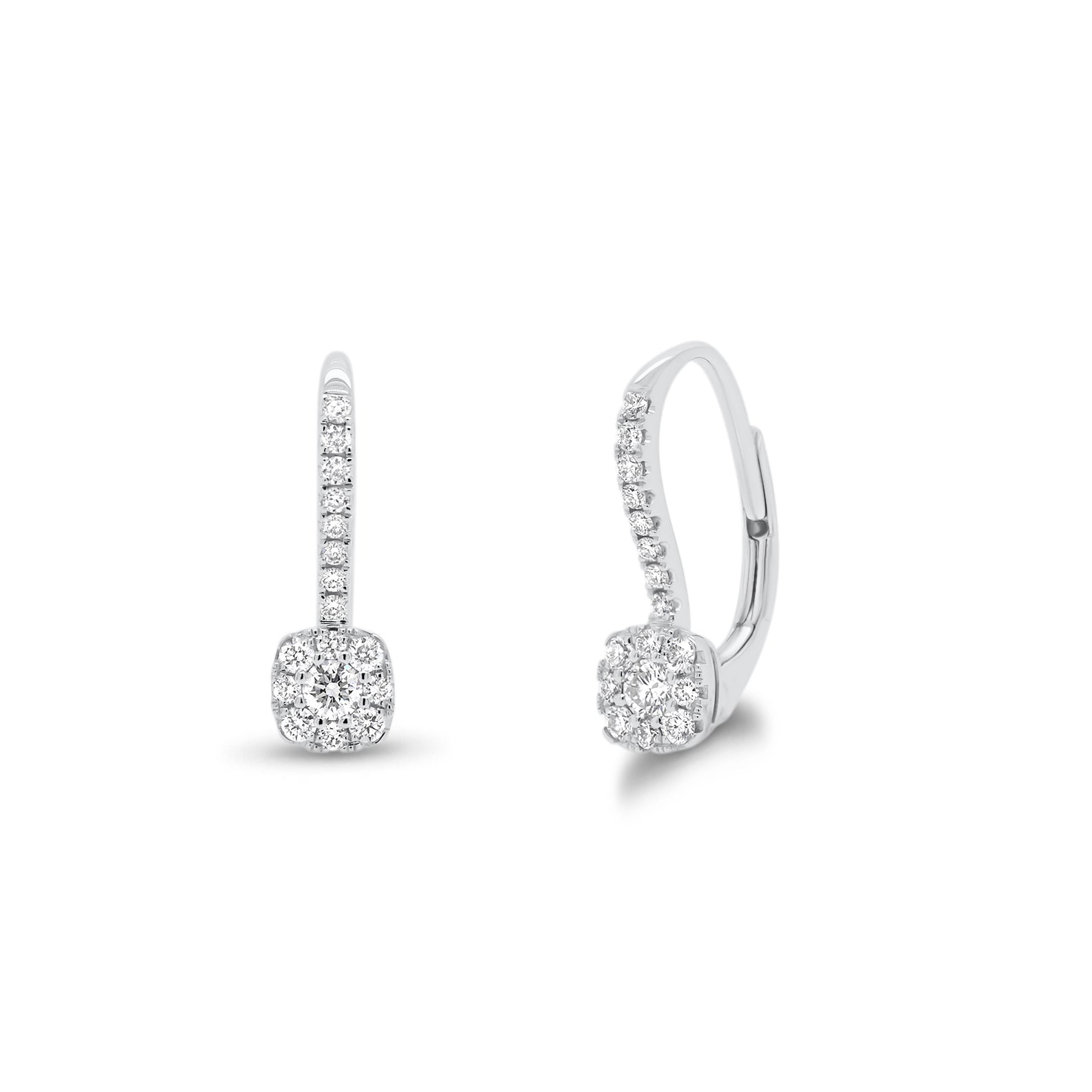 Diamond Cushion-Shaped Lever-Back Earrings