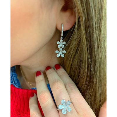 Diamond Double Flower Drop Earrings