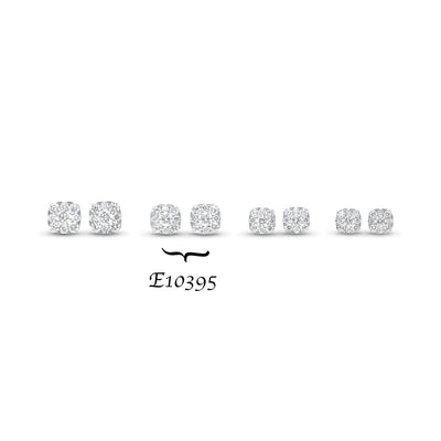 Diamond Cushion-Shaped Stud Earrings