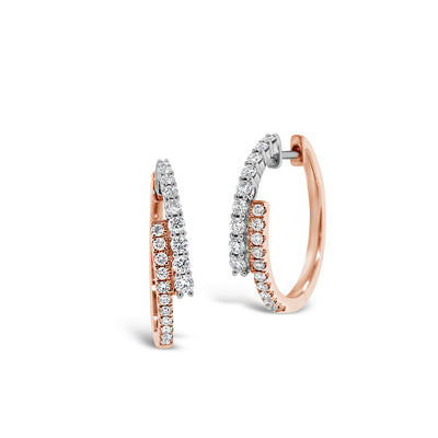 Diamond Two-Tone Crossover Hoop Earrings