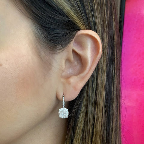 Cluster Diamond Lever-back Earrings