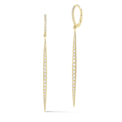 Diamond Dagger Lever-Back Earrings