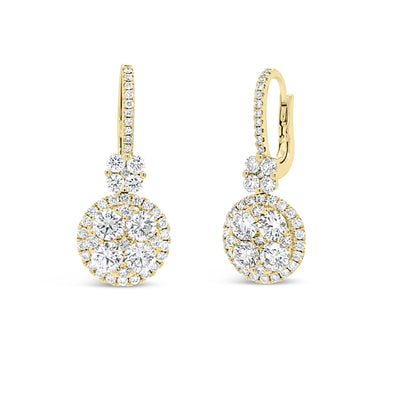 Diamond Cluster Lever-Back Earrings