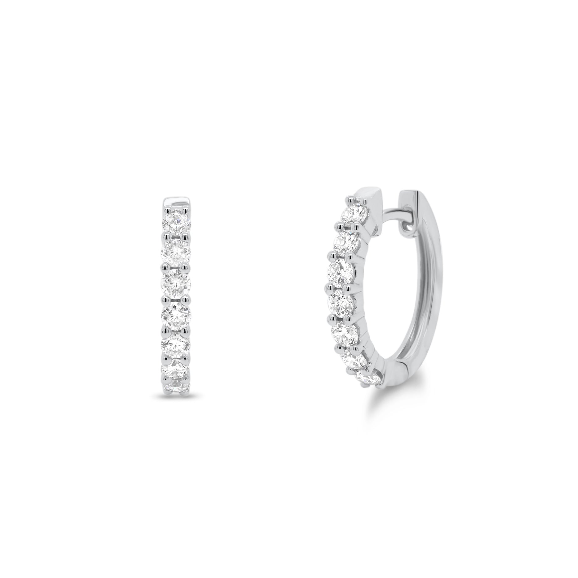 Prong-Set Diamond Huggie Earrings