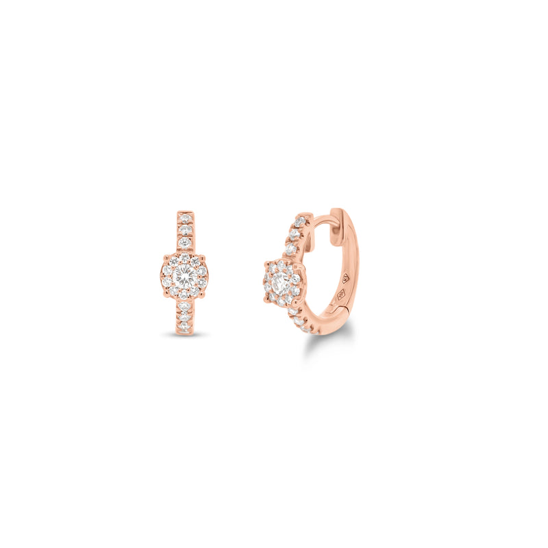 Diamond Halo Huggie Earrings