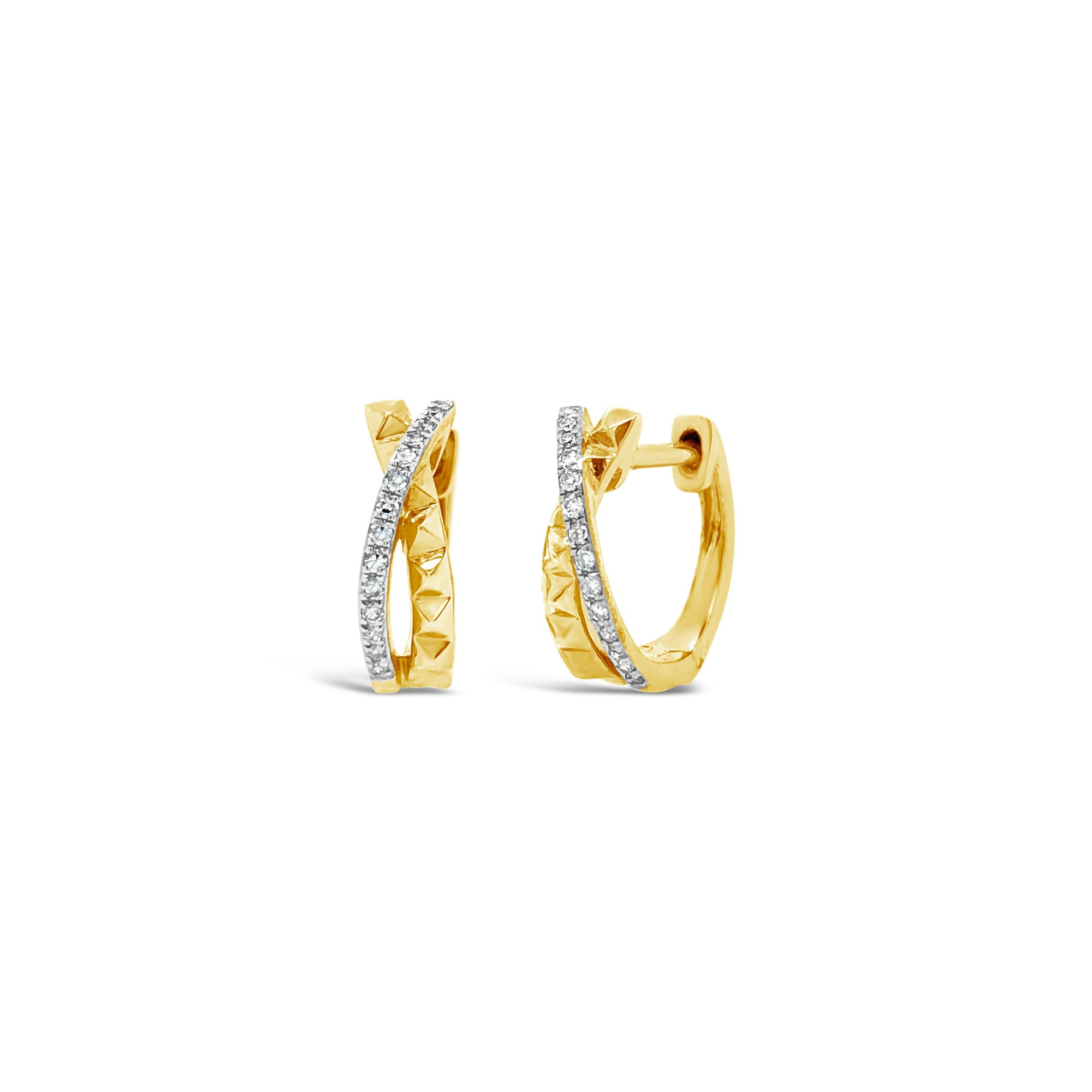 Half Diamond Half Gold Stud Huggie Twist Earrings