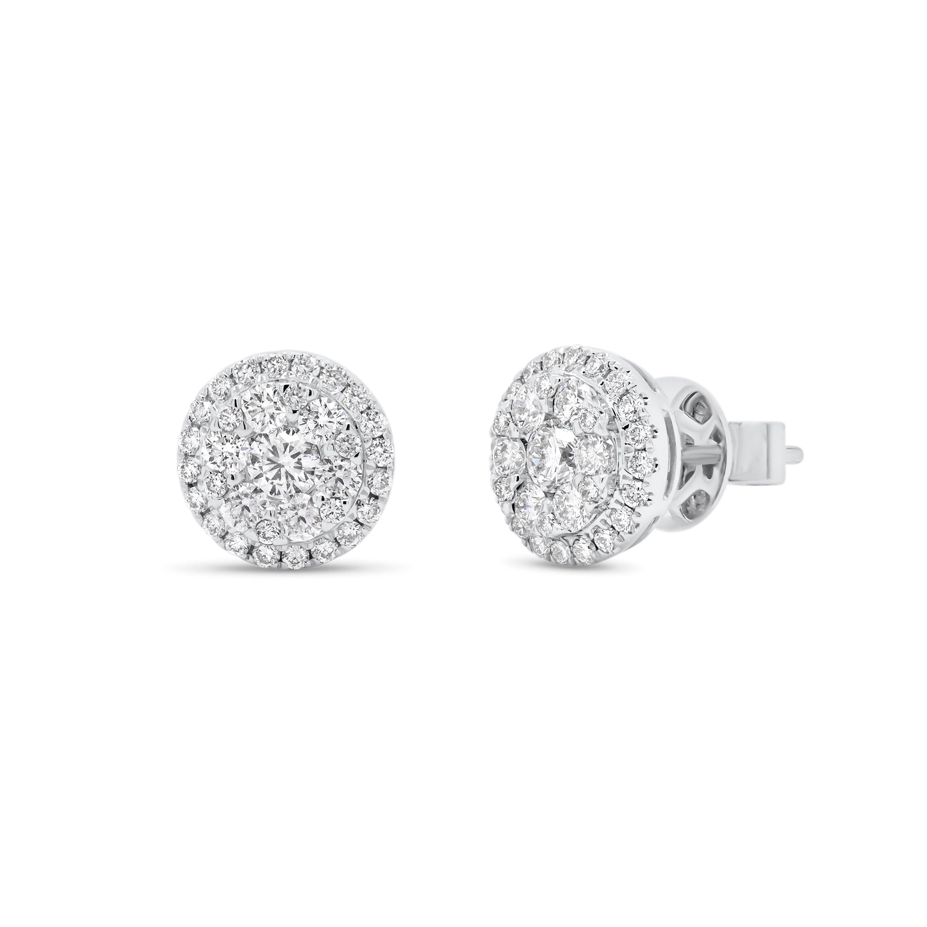 Diamond Round Cluster Stud Earrings