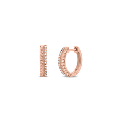 Diamond & Beaded Gold Huggie Earrings