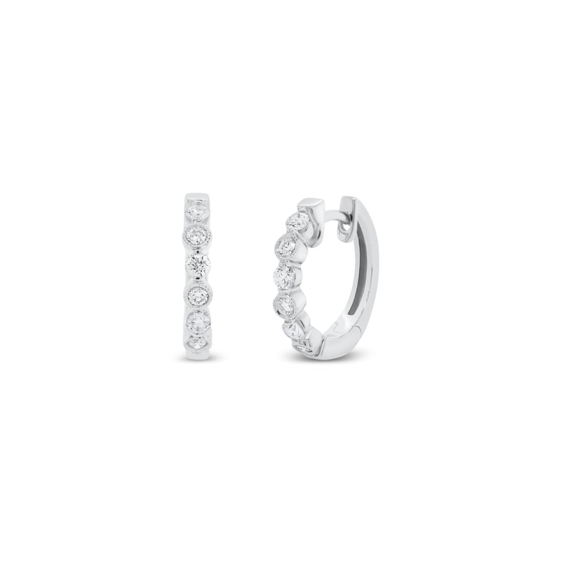 Diamond Huggie Earrings with Bezels & Milgrain Detail