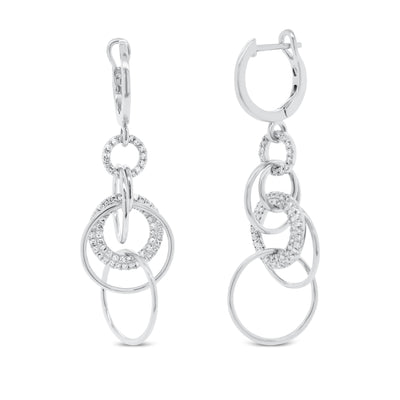Diamond Circle Link Dangle Earrings