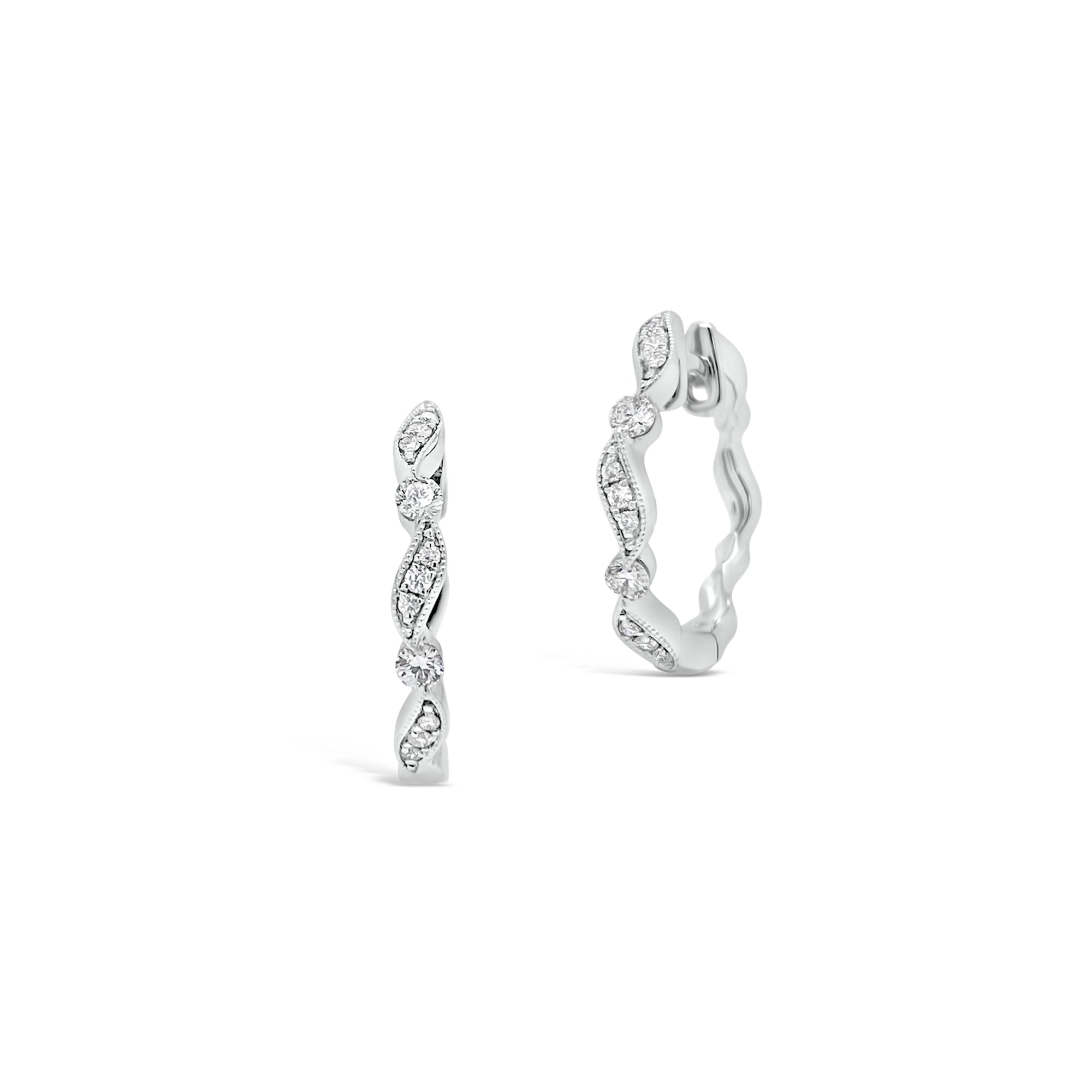 Small Diamond Ribbon Huggie Earrings
