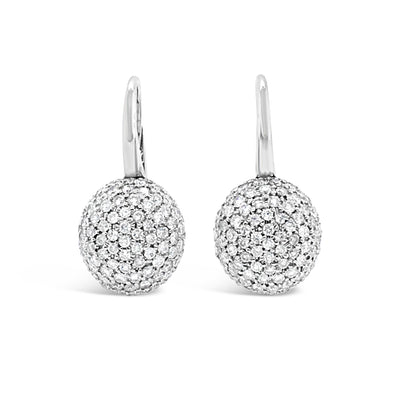 Diamond Domed Lever-Back Earrings