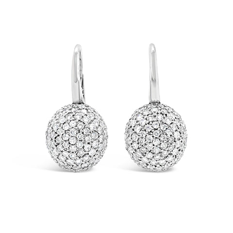Round Domed Diamond Lever-back Earring