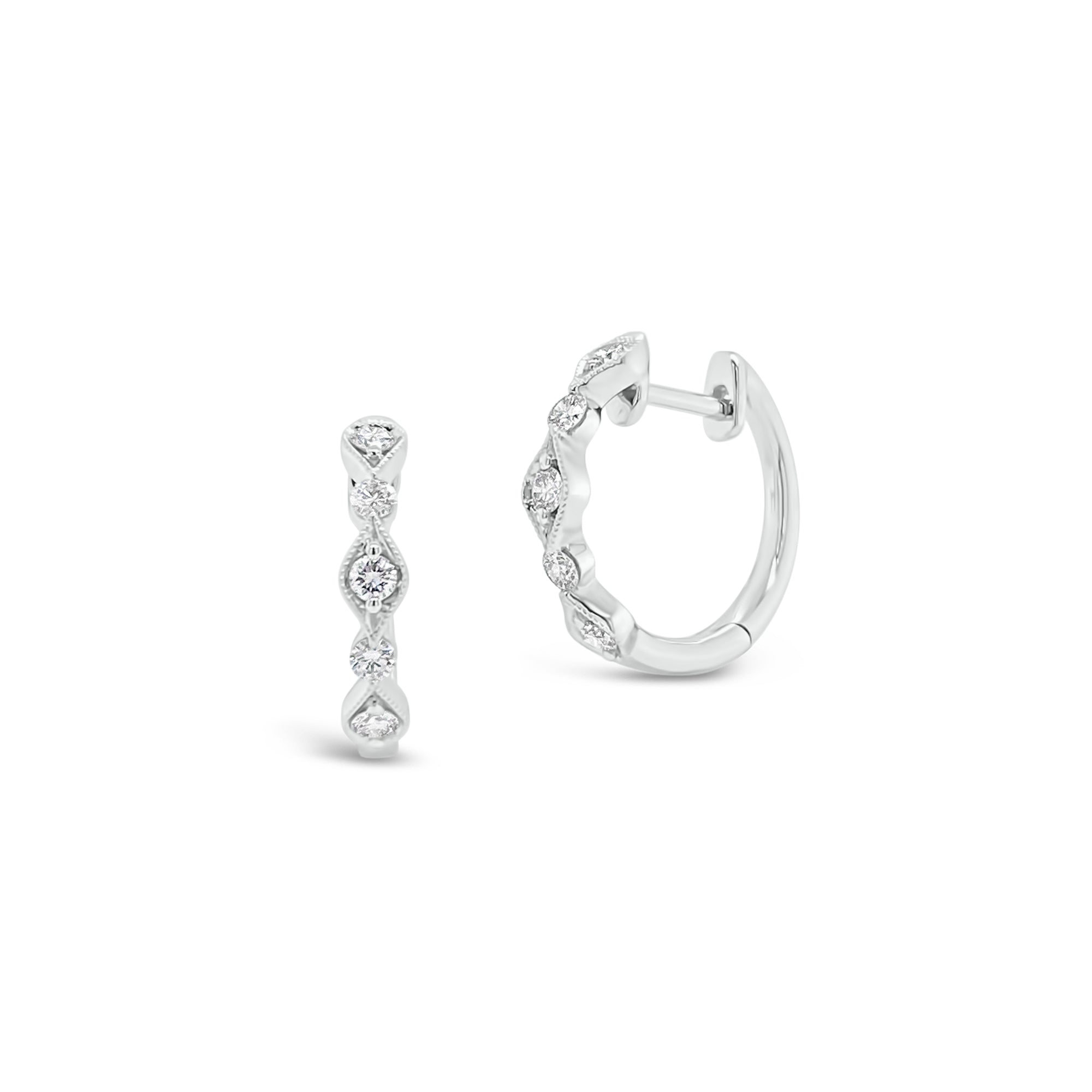 Diamond Milgrain Wavy Huggie Earrings