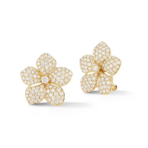 Pave-set Diamond Flower Clip Earrings