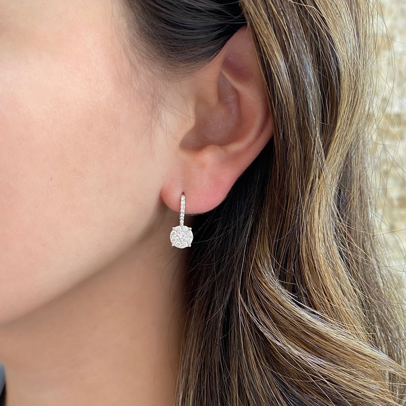 Diamond Round Halo Lever-Back Earrings