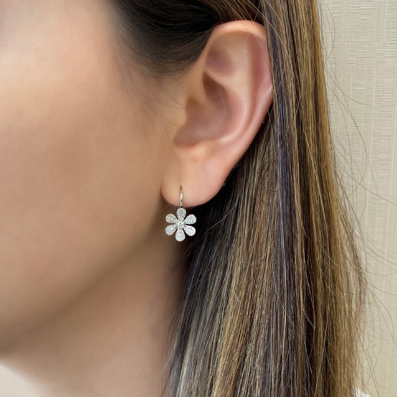 Diamond Large Flower Lever-Back Earrings