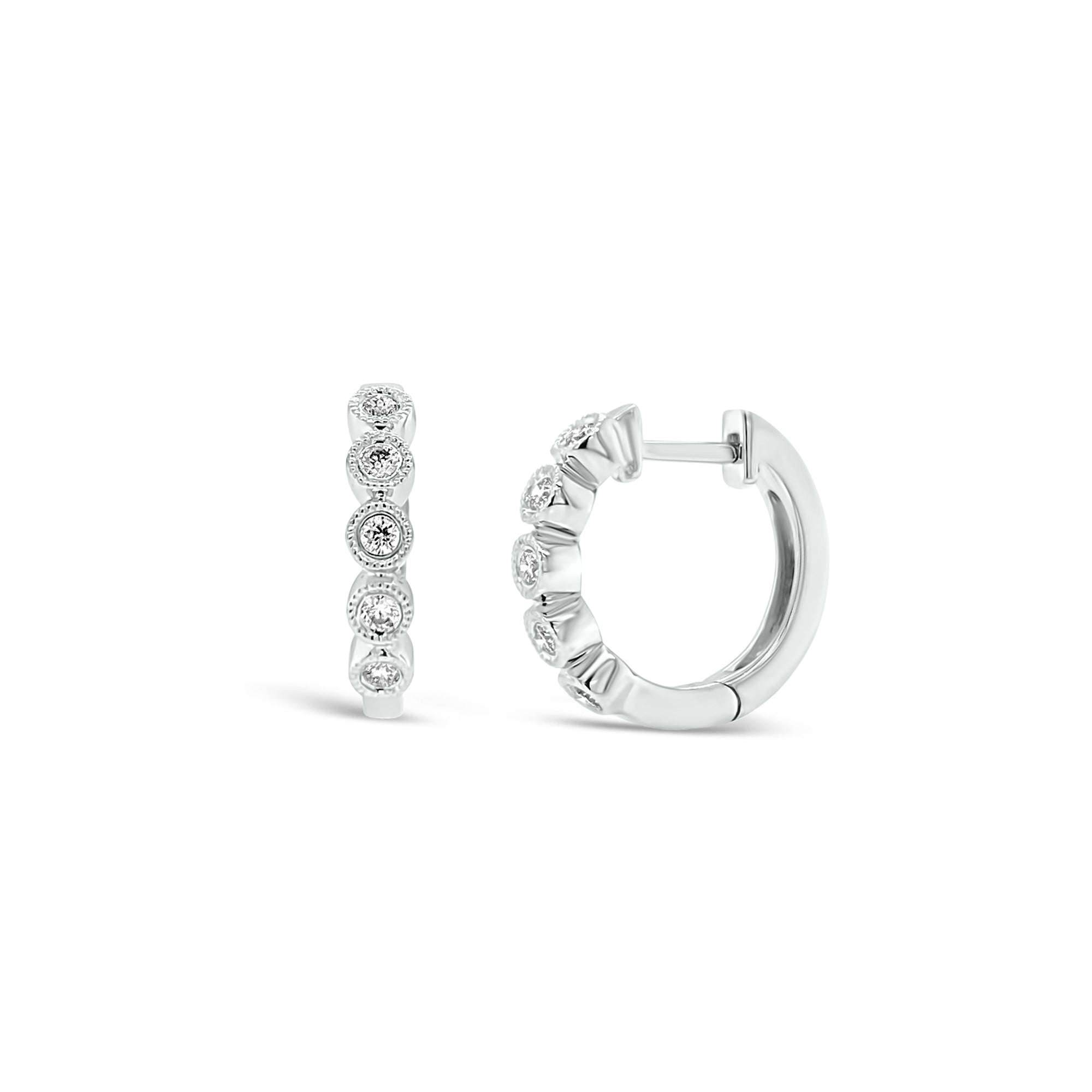 Diamond Huggie Earrings with Milgrain Detail