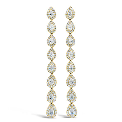 Diamond Teardrop Long Dangle Earrings