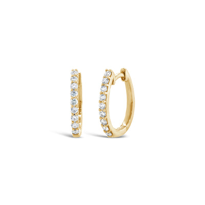 Oval Diamond Huggie Earrings