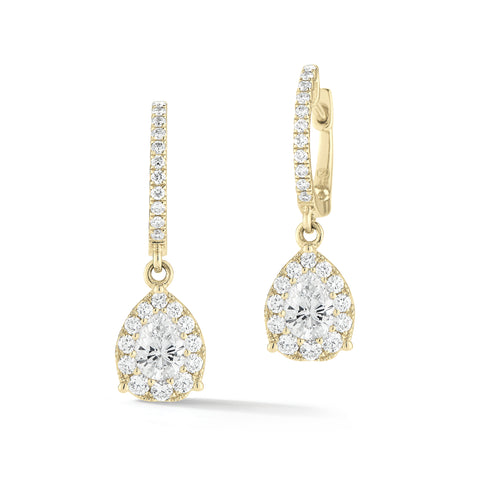 Diamond Pear-shaped Halo Earrings