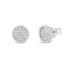Pave Diamond Stud Earrings with Beaded Gold Detail