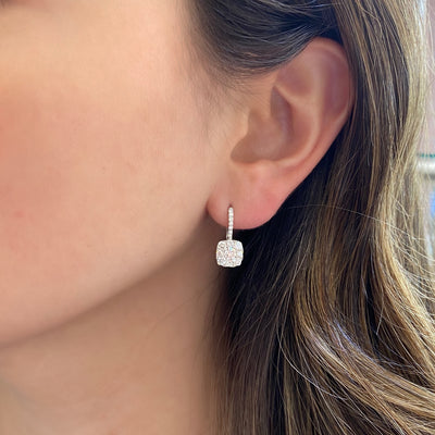 Diamond Square Cluster Lever-Back Earrings
