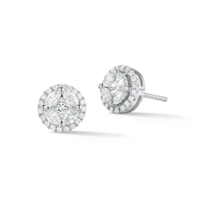 Marquise & Princess Illusion Diamond Halo studs