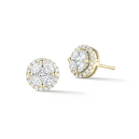 Marquise Diamond Halo Earrings