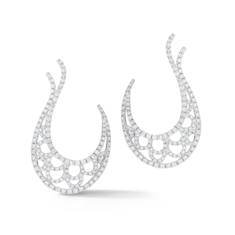 Diamond Scalloped Hook Earrings