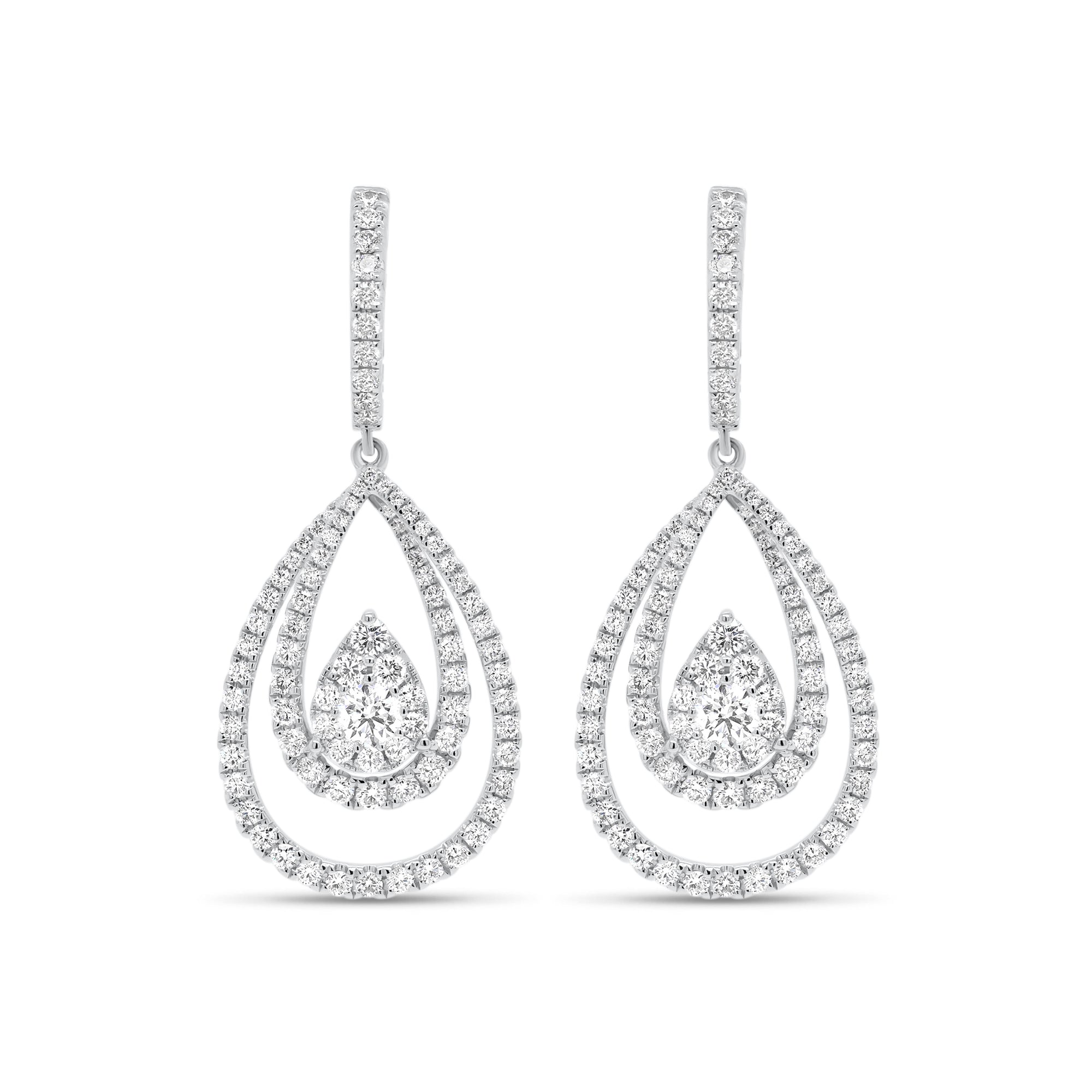 Diamond Layered Teardrop Dangle Earrings