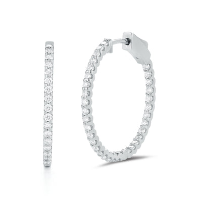 Diamond Hoop Earrings 1 inch size
