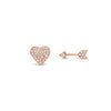 Diamond Heart & Arrow Stud Earrings