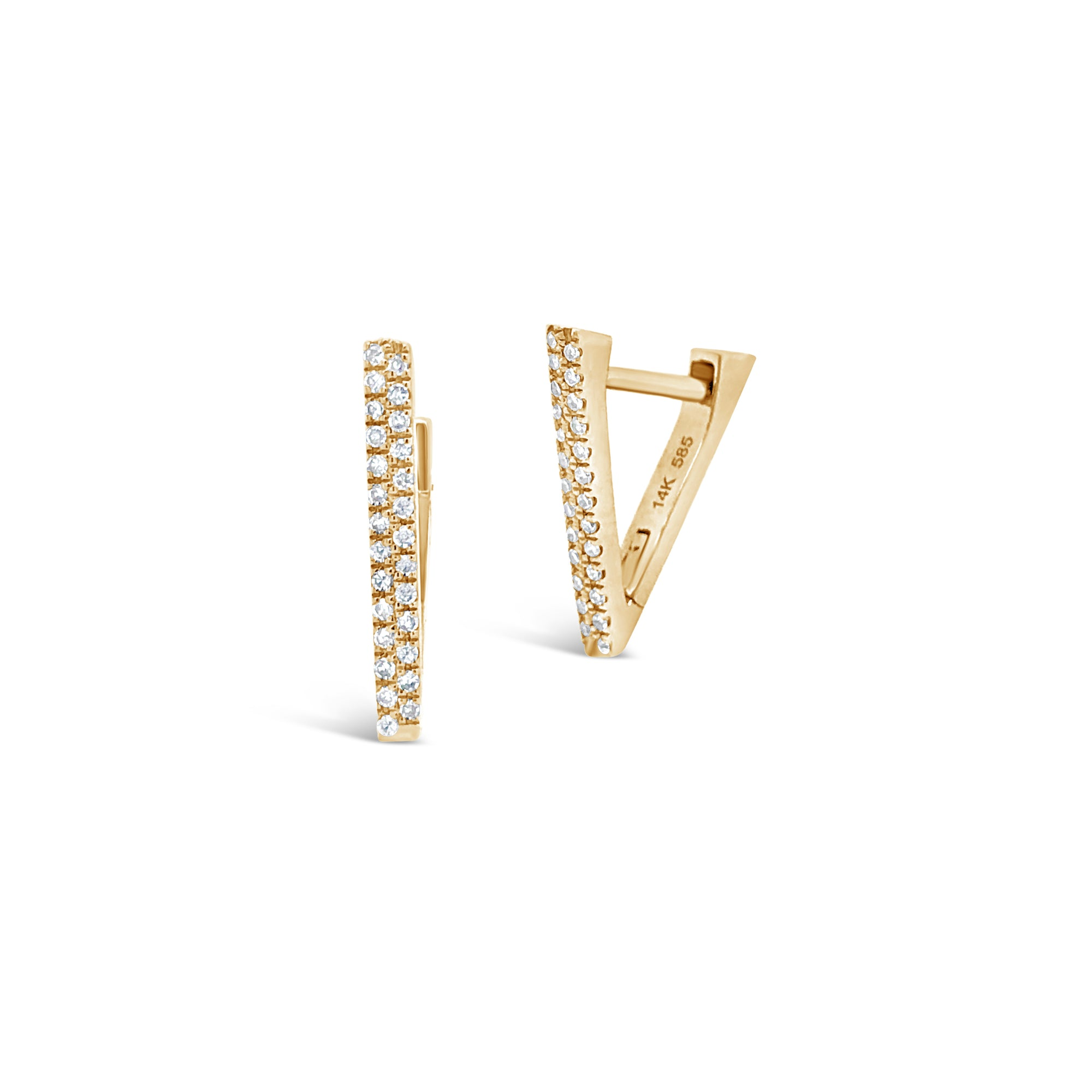 V-Shaped Diamond Huggie Earrings