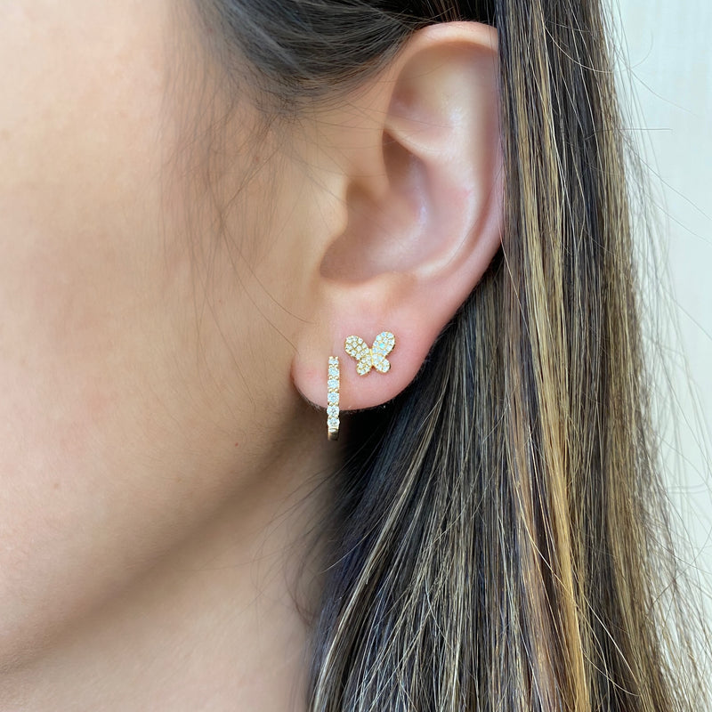 Mini Diamond Butterfly Stud Earrings