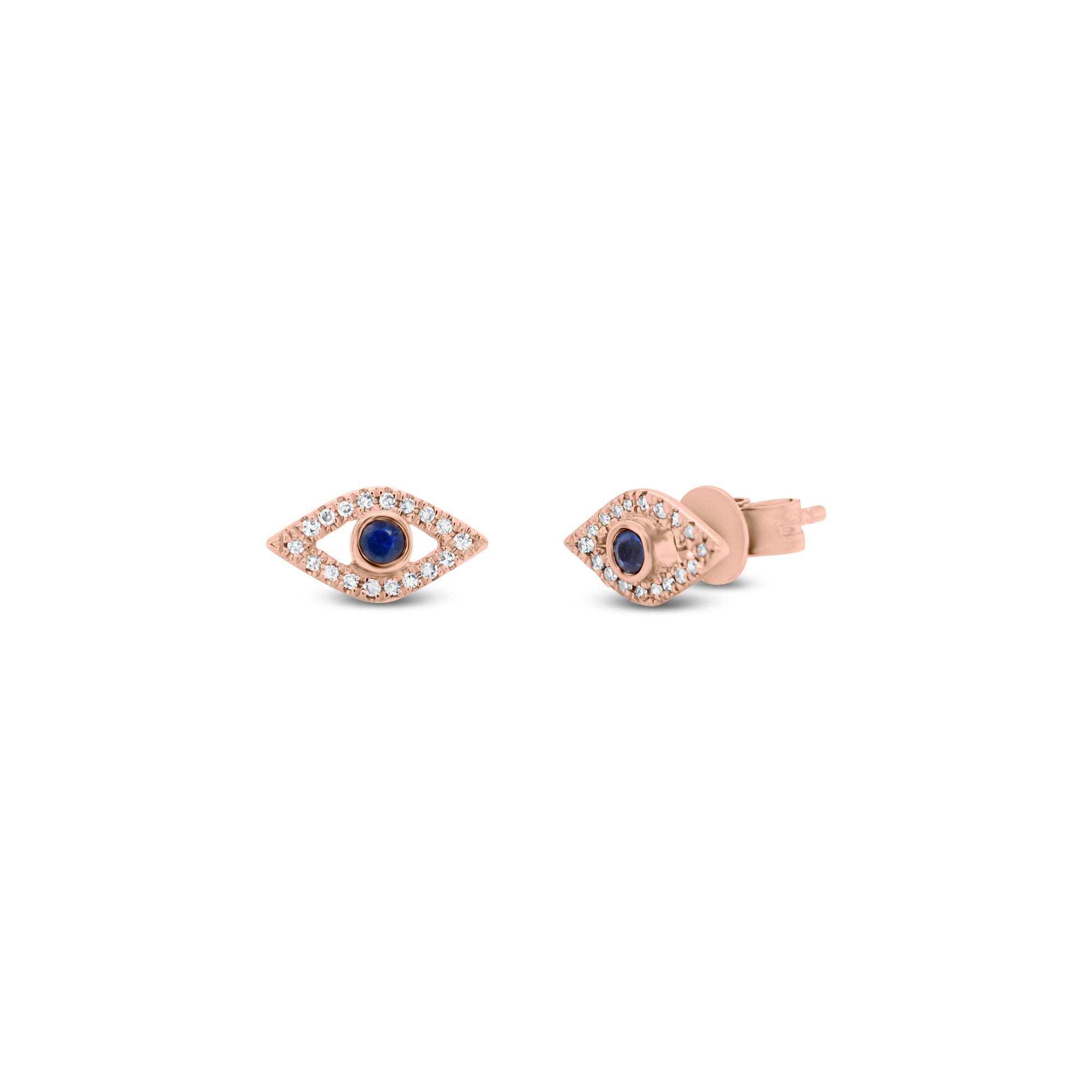 Diamond & Sapphire Evil Eye Stud Earrings