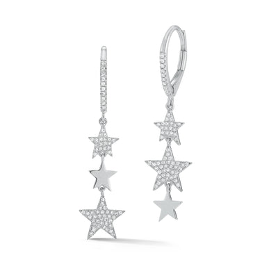 Diamond Triple Star Dangle Earrings
