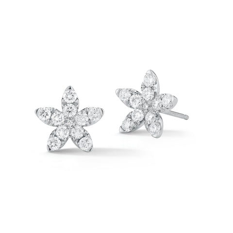 Flower-shaped Diamond Earrings