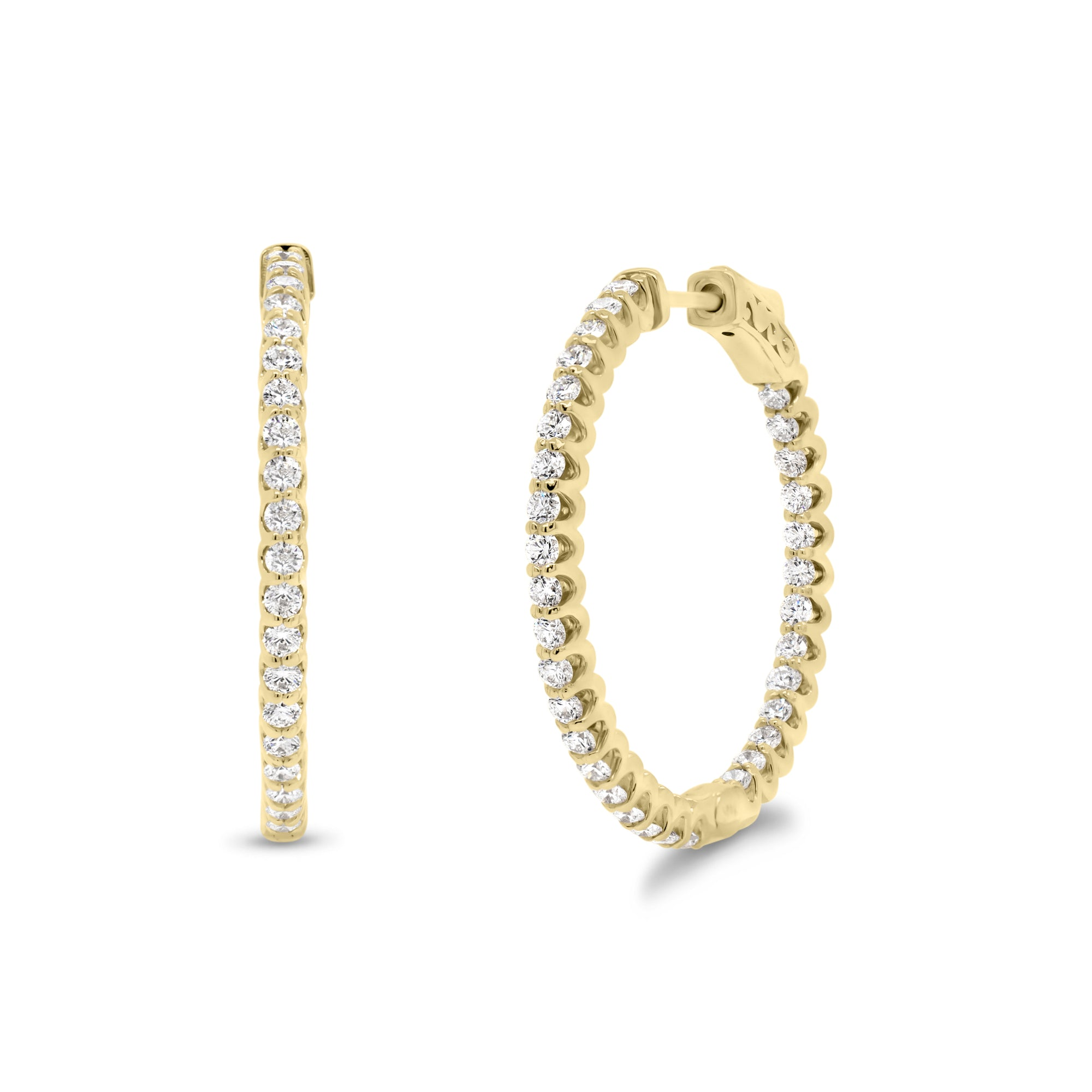 Diamond Interior & Exterior Medium Hoop Earrings
