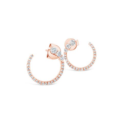 Diamond Push-Back Hoop Earrings