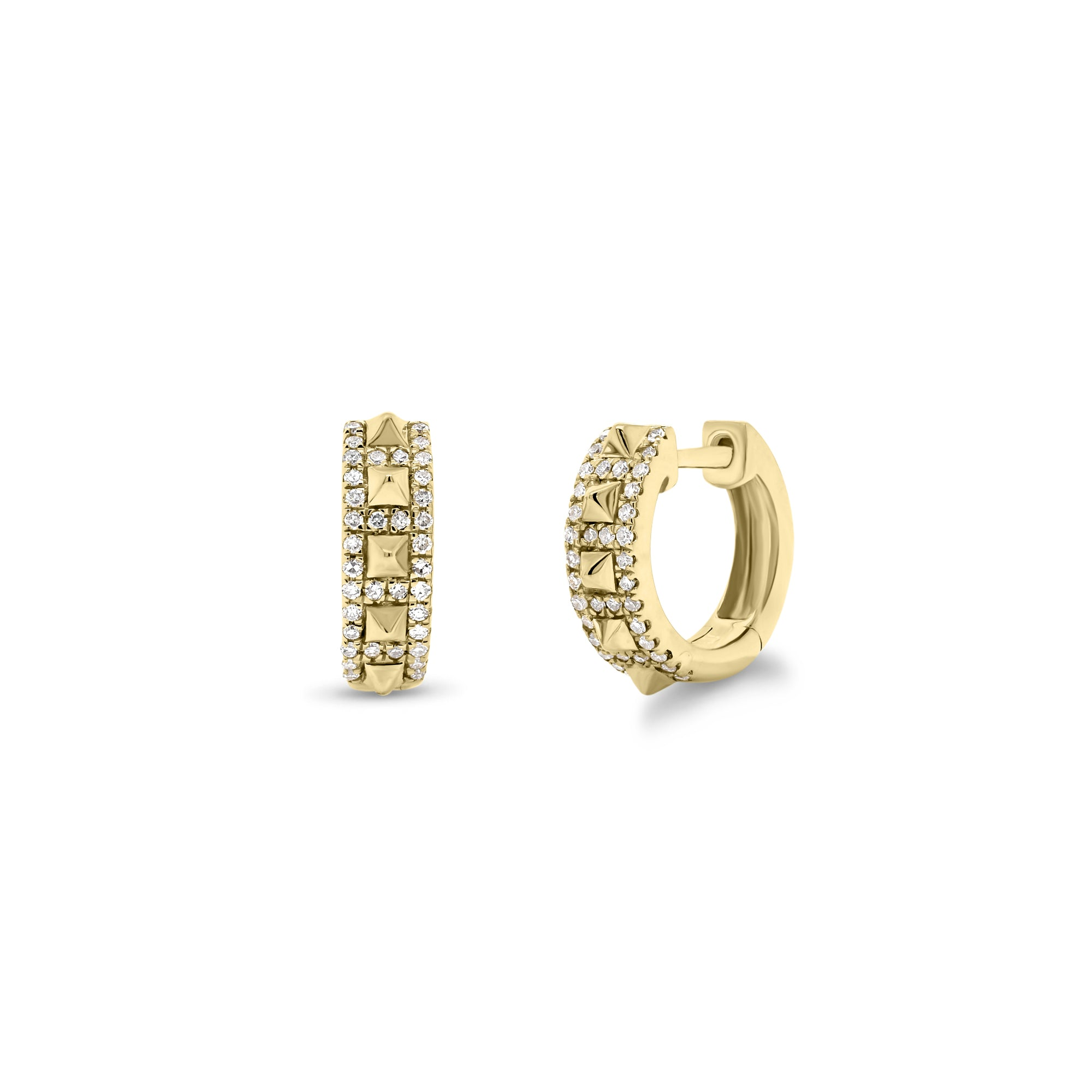 Diamond & Gold Pyramid Stud Huggie Earrings
