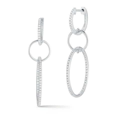 Triple Hoop Diamond Earrings