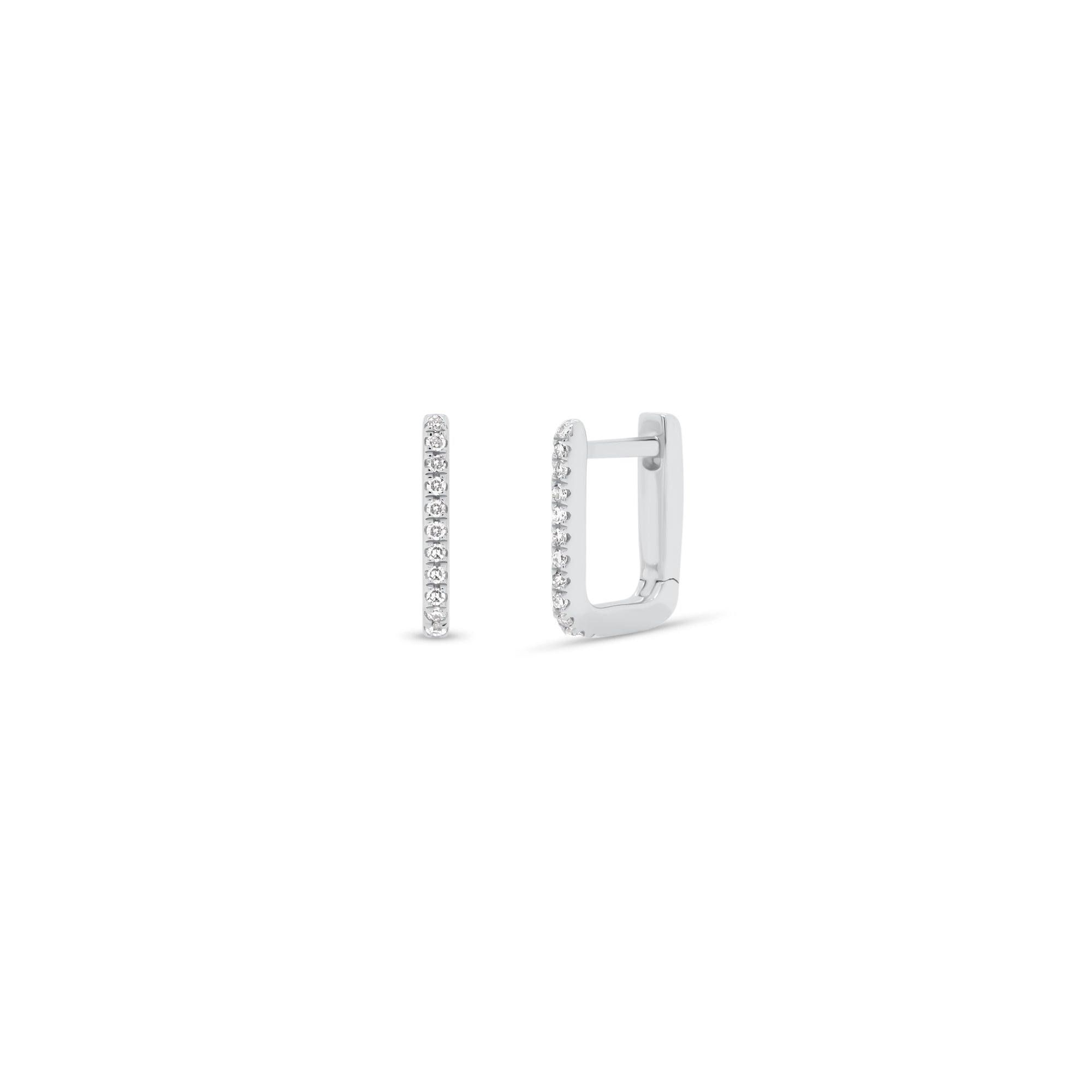 Diamond Square Huggie Earrings
