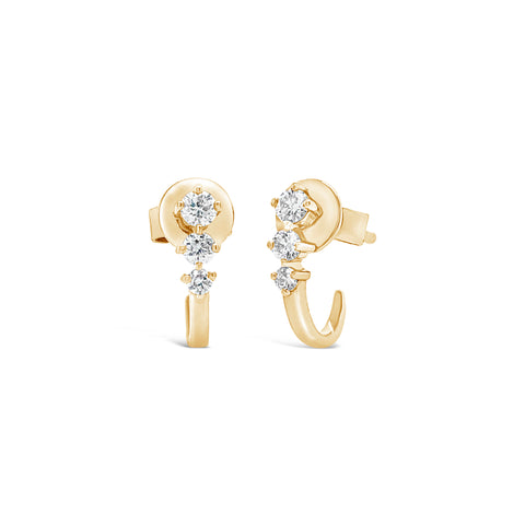 3-Diamond Stud-Ear Cuff