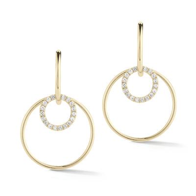 Diamond Double Hoop Drop Earrings