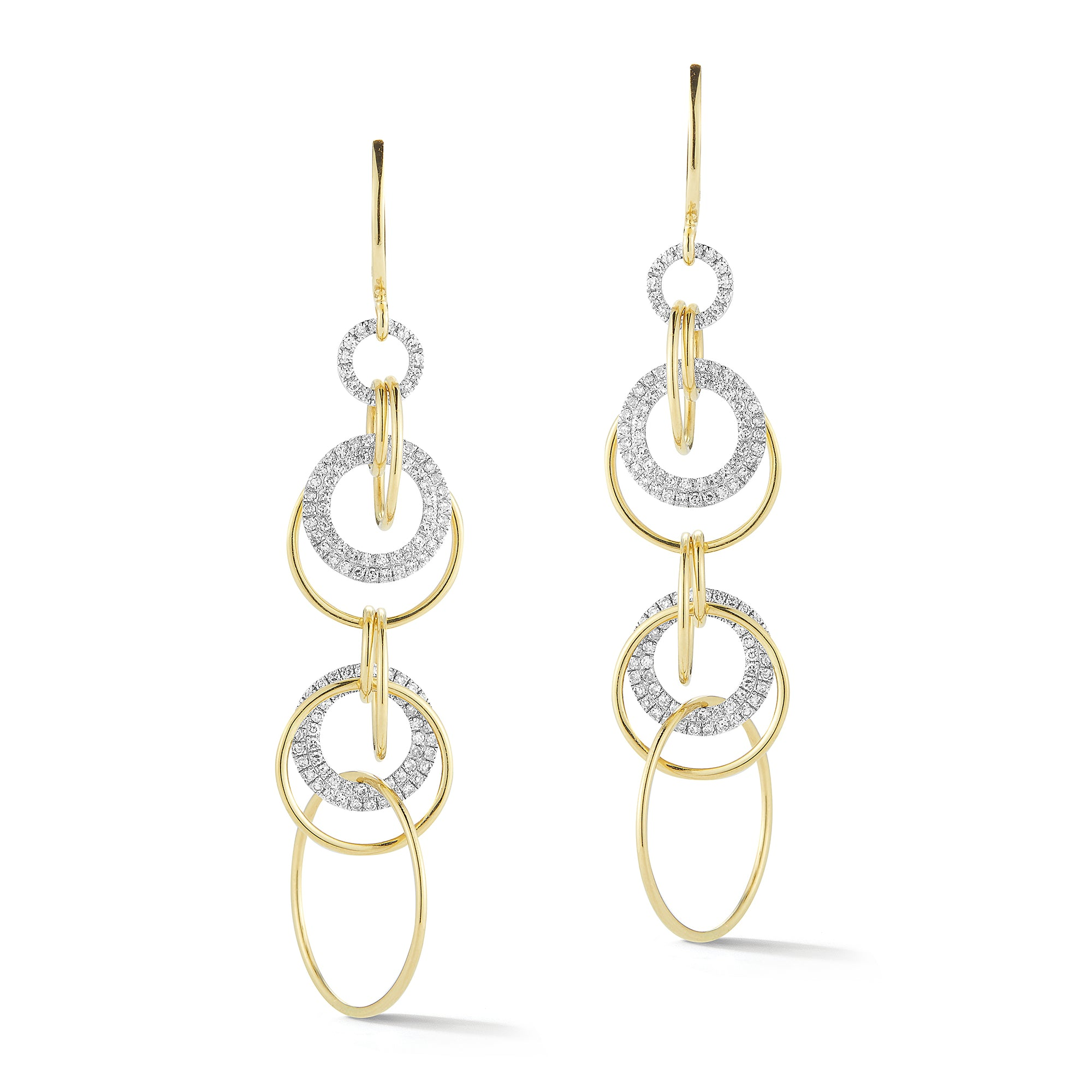 Diamond Interlocking Hoop Dangle Earrings