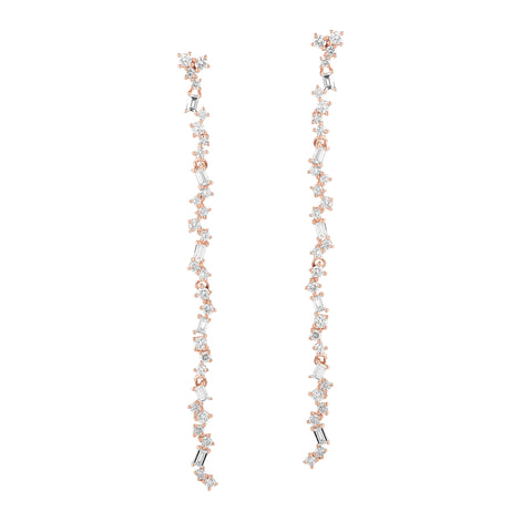 Scattered Diamond Dangle Earrings