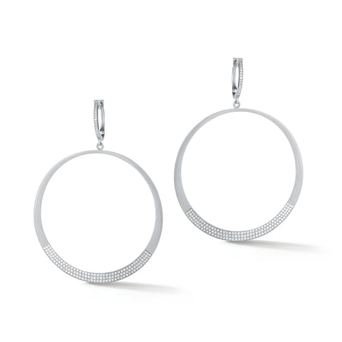Diamond Drop Hoop Earrings