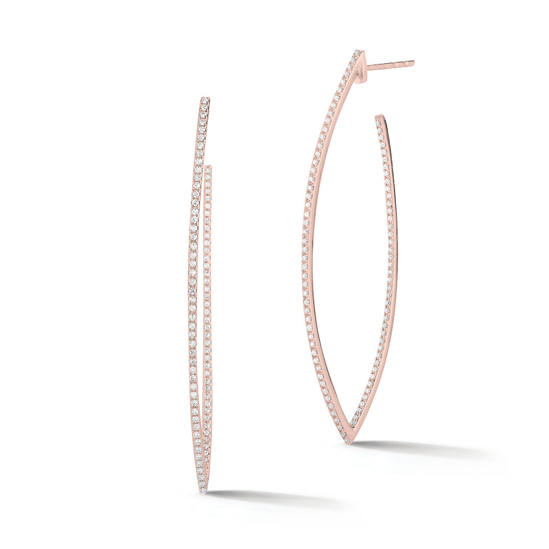 Oval Spiked Diamond Hoop Earrings